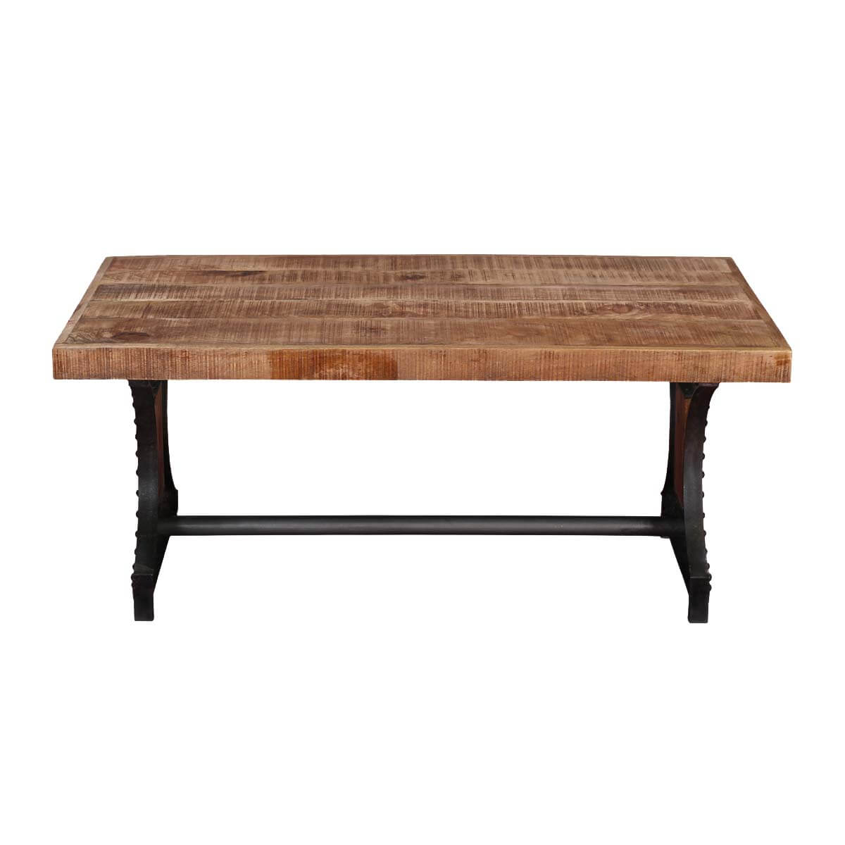 Utah Graceful Trestle Iron Base And Mango Wood Top Rustic Coffee Table