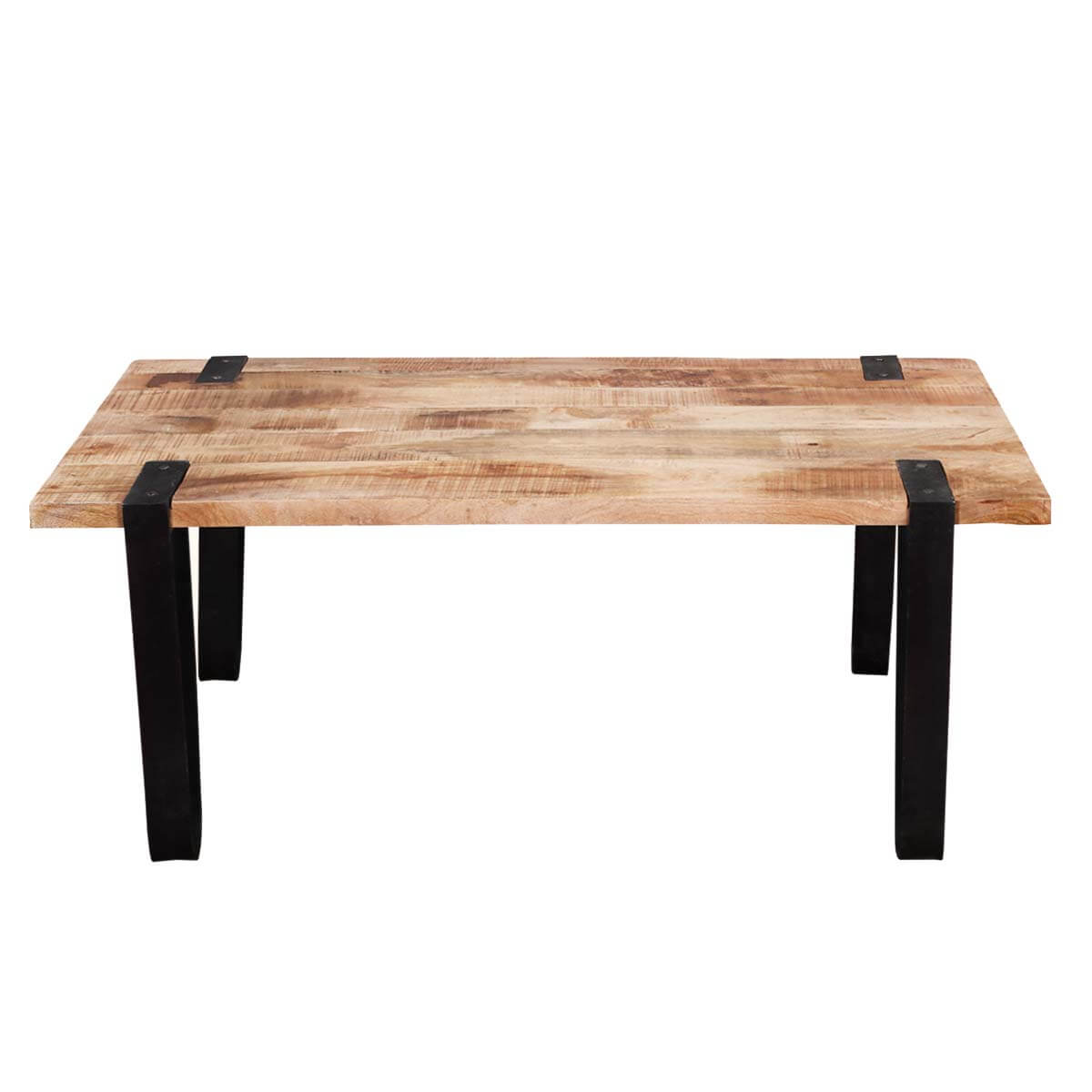 Montana Stylish Rectangular Solid Wood And Iron Accent Coffee Table. Full resolution  image, nominally Width 1200 Height 1200 pixels, image with #B48317.