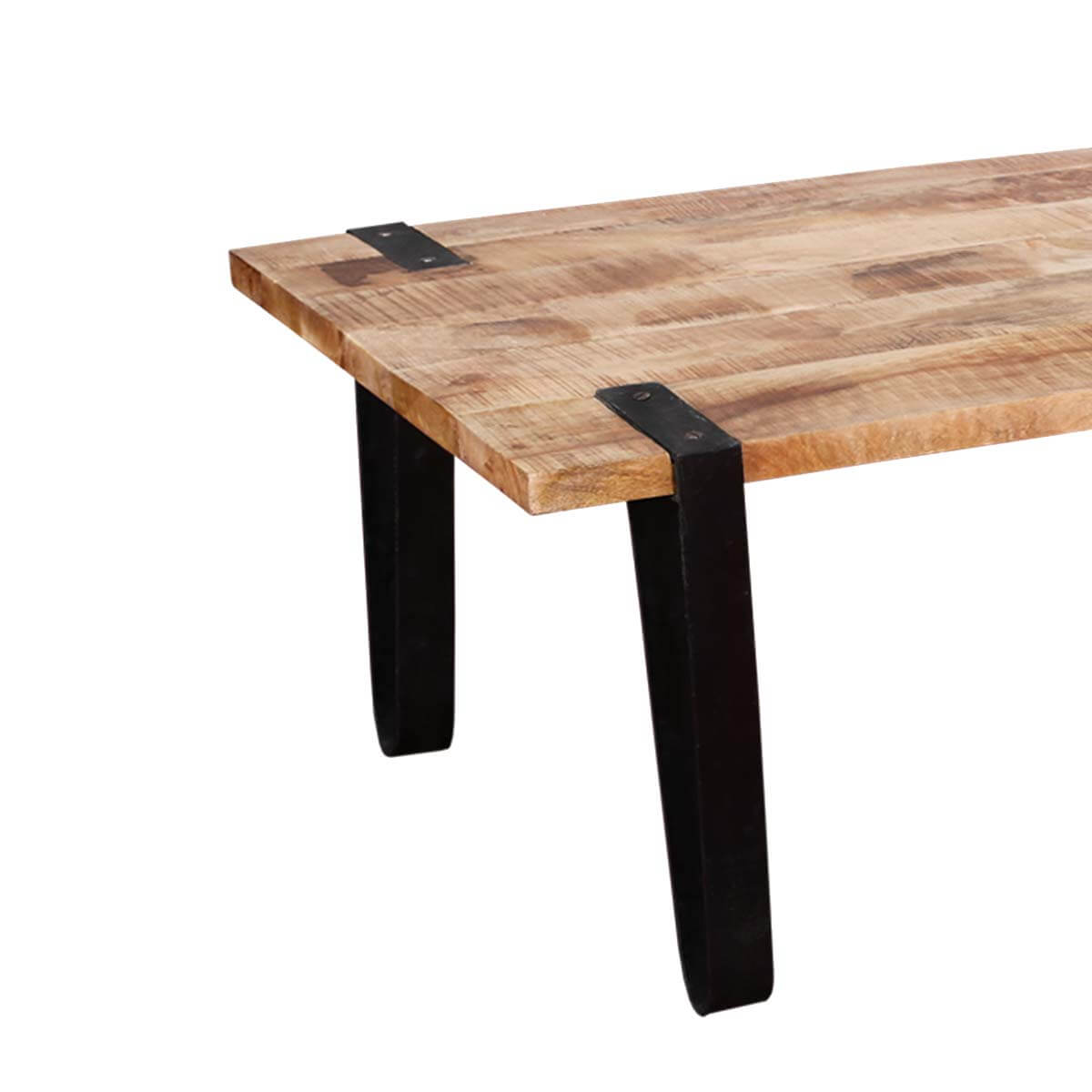 Solid Wood And Metal Coffee Table: Montana Stylish Rectangular Solid Wood And Iron Accent