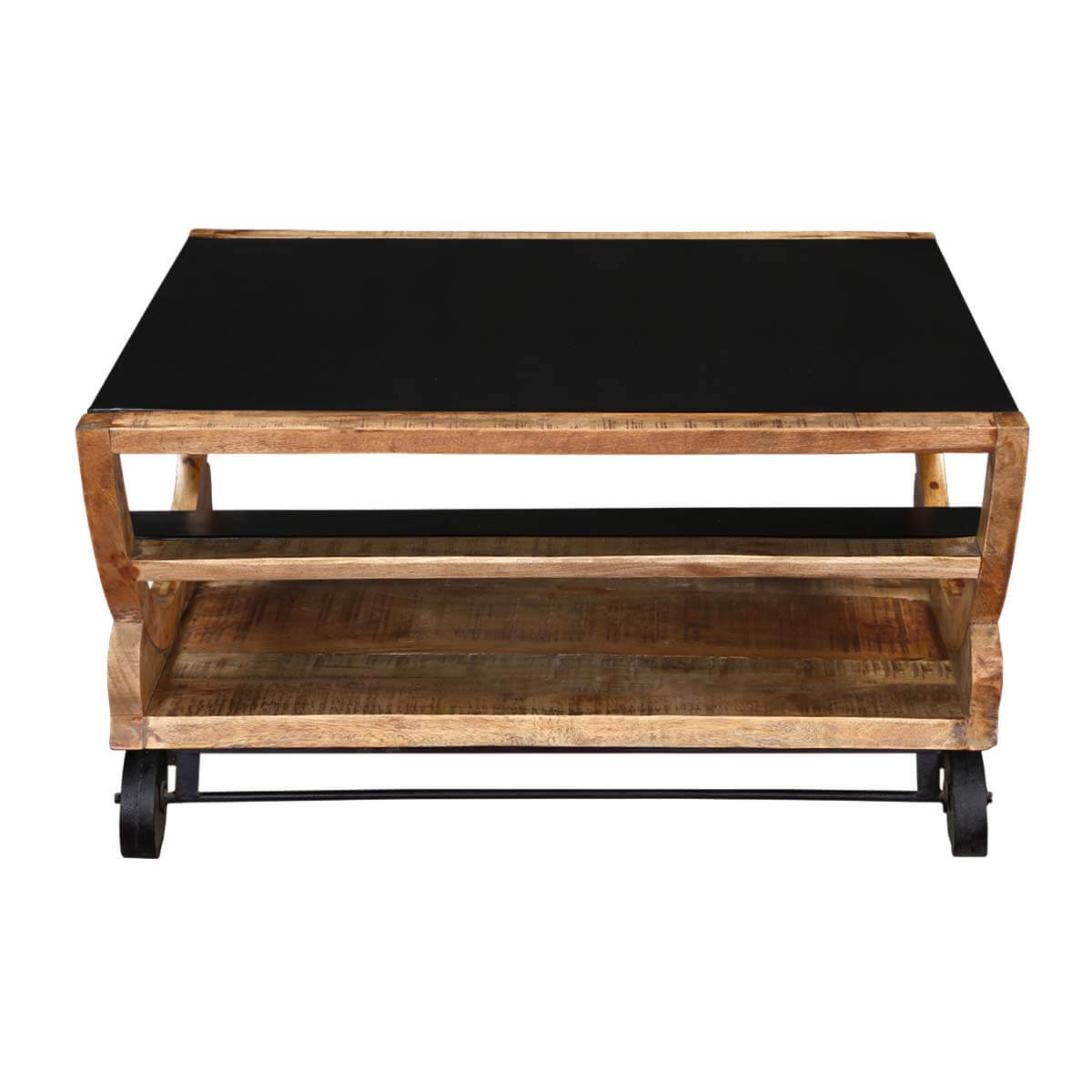 Very Impressive portraiture of  Savannah 3 shelf with 6 wheels Iron & Wood Modern Accent Coffee Table with #B48317 color and 1200x1200 pixels
