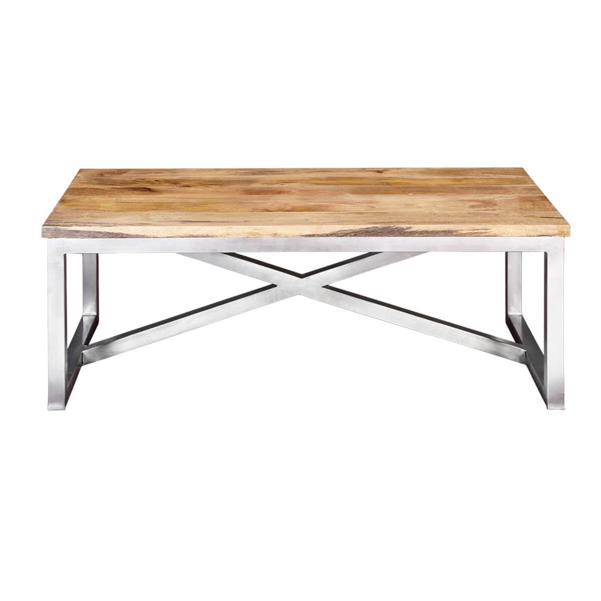 Lisbon mango wood industrial accent coffee table with iron for Wood coffee table with iron legs