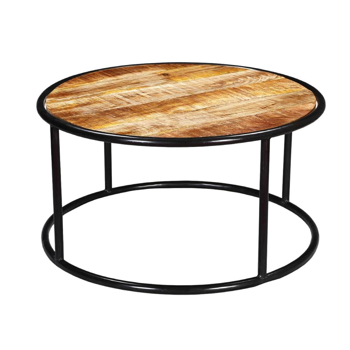 laura mango wood round accent coffee table with iron legs With mango wood coffee table round