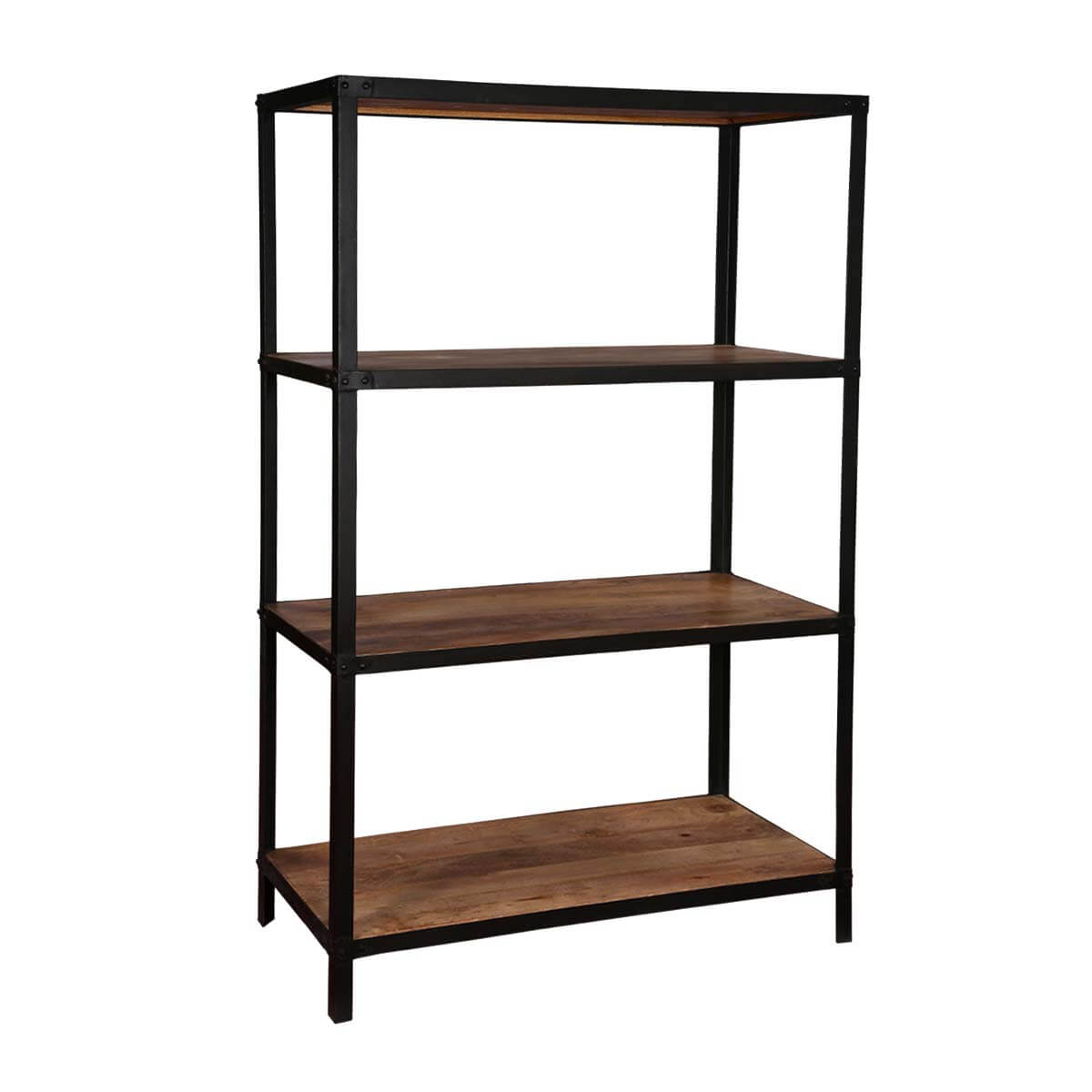Simply Modern Mango Wood Iron Freestanding Open Back Shelves