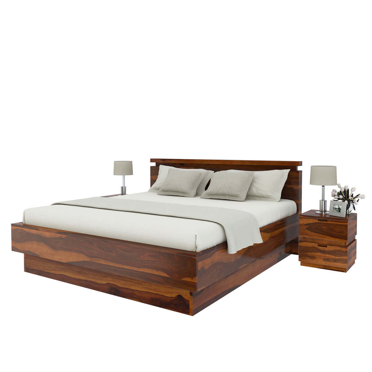 modern simplicity solid wood queen size platform bed. Black Bedroom Furniture Sets. Home Design Ideas