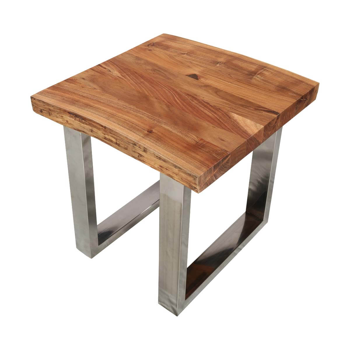 Natural edge acacia wood steel square end table