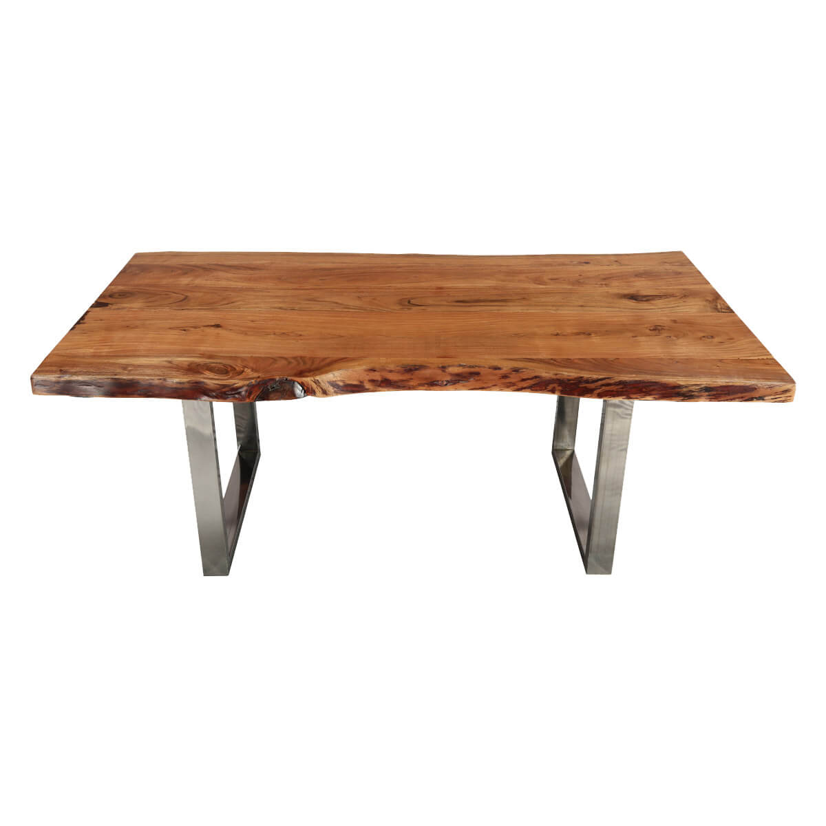 natural 78 acacia wood steel base live edge dining table. Black Bedroom Furniture Sets. Home Design Ideas