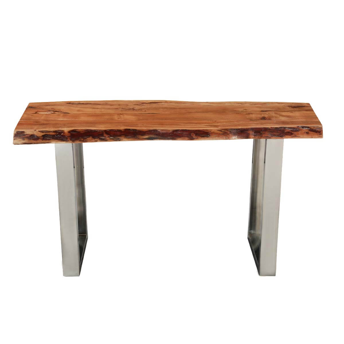 Natural Wood Console Table ~ Natural edge acacia wood steel hall console table