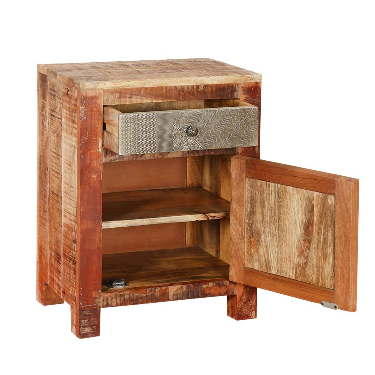 Appalachian rustic reclaimed wood freestanding accent for Rustic wood nightstand