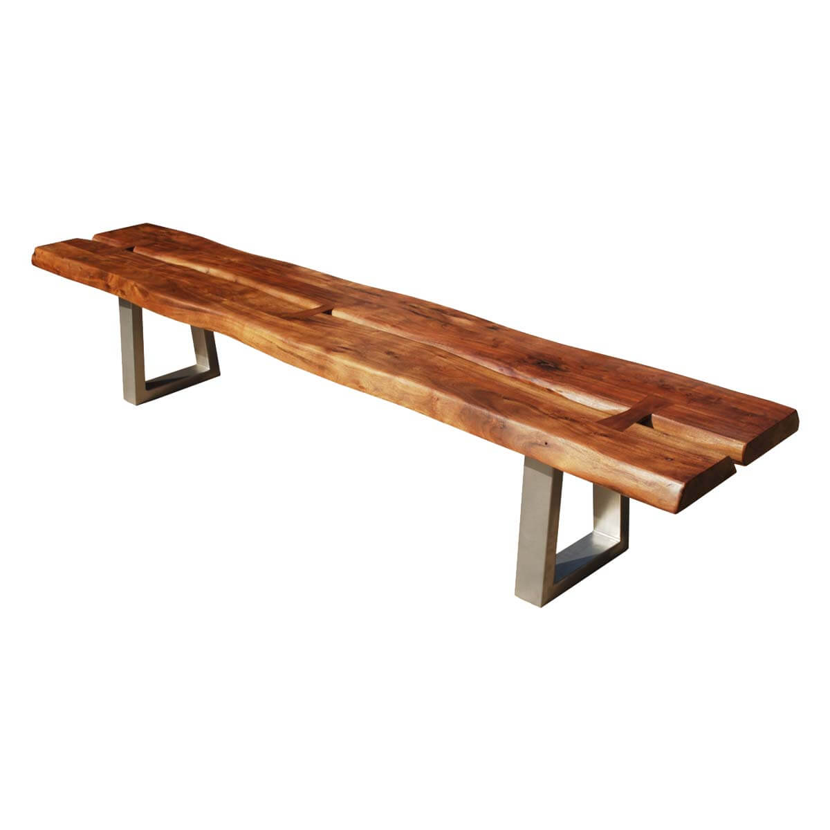 Belfort Live Edge Acacia Wood Iron Long Backless Bench