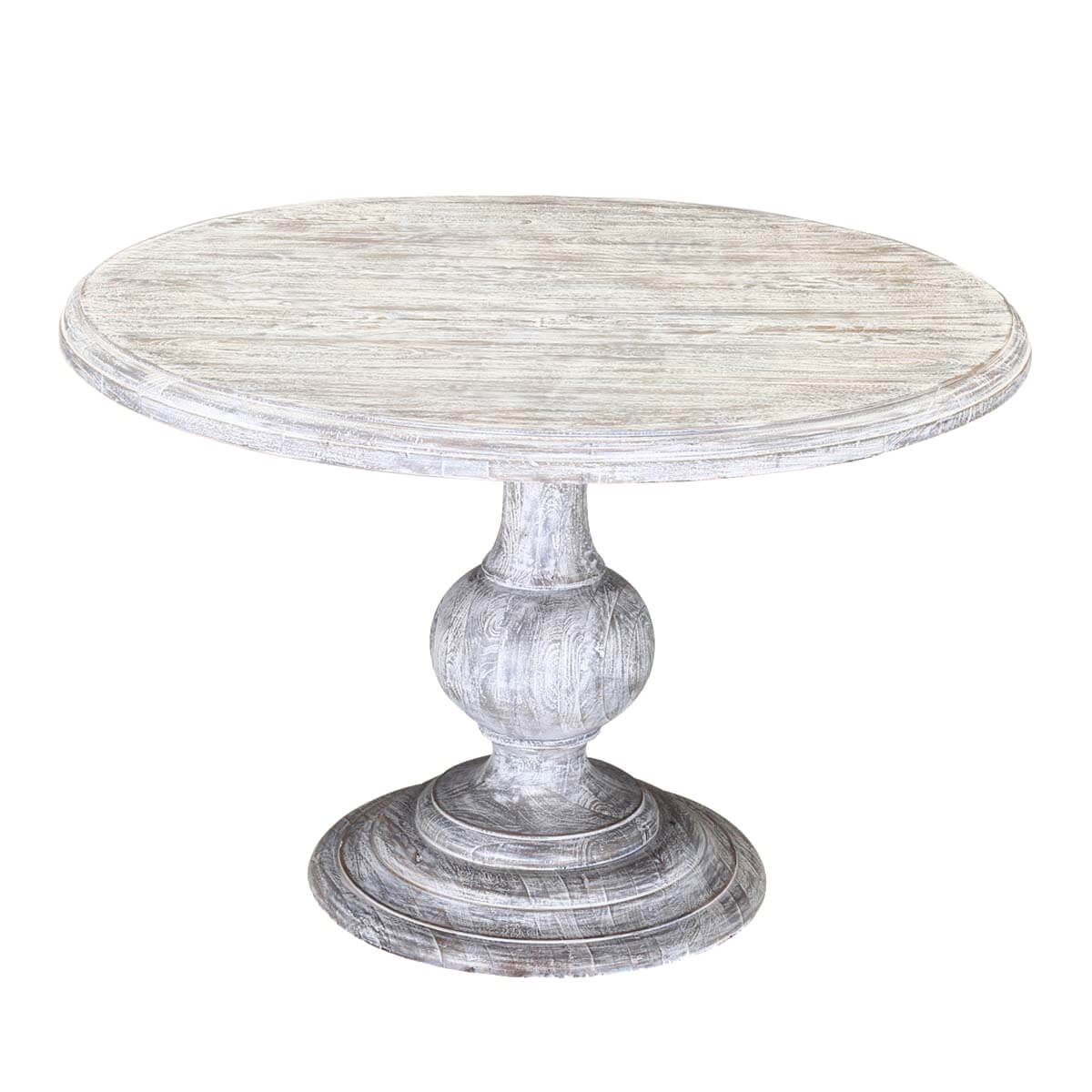 Winter White Mango Wood 48 Round Pedestal Dining Table