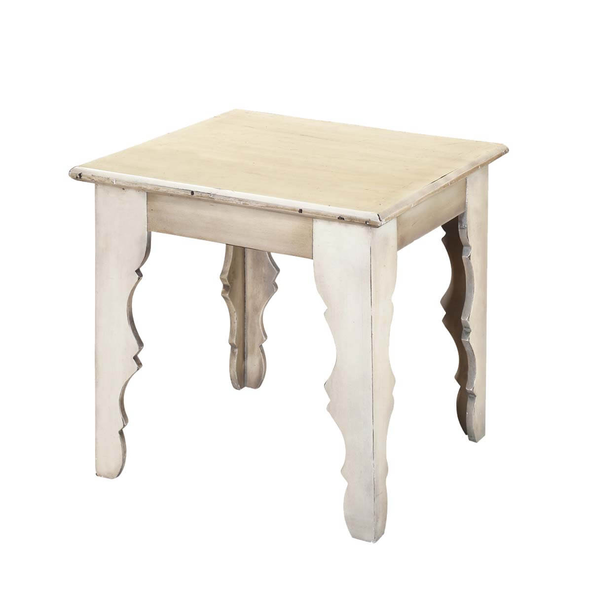 Winter white rustic mango wood square accent end table for Rustic wood accent tables