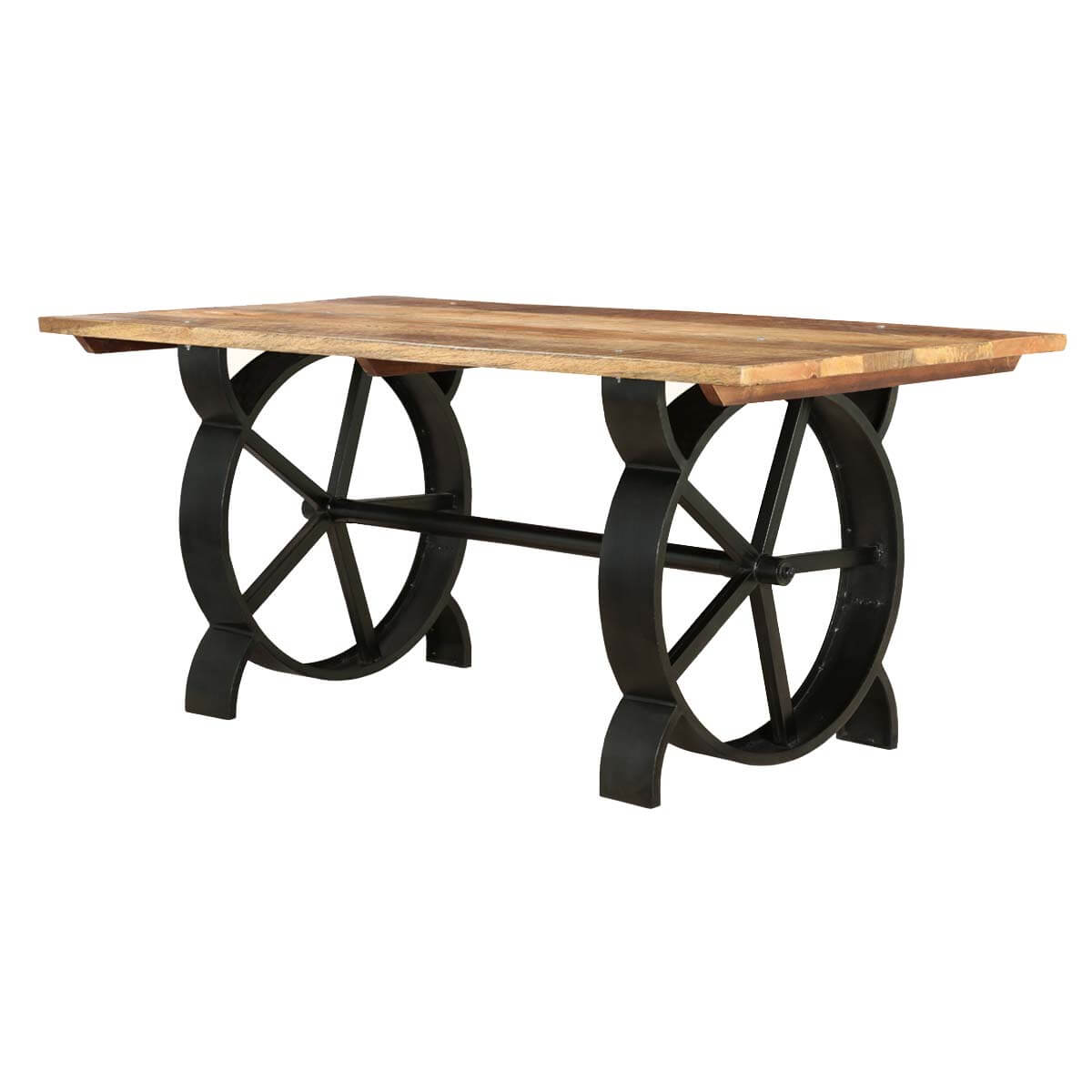 virginia contemporary handcrafted iron and mango wood dining table. Black Bedroom Furniture Sets. Home Design Ideas
