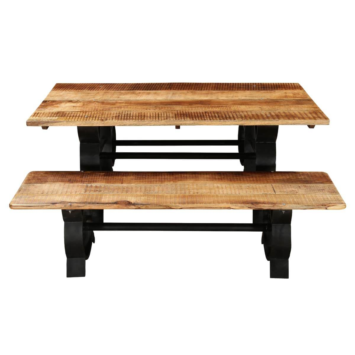 Raleigh Chic Industrial Iron Base & Wooden Top Dining ...