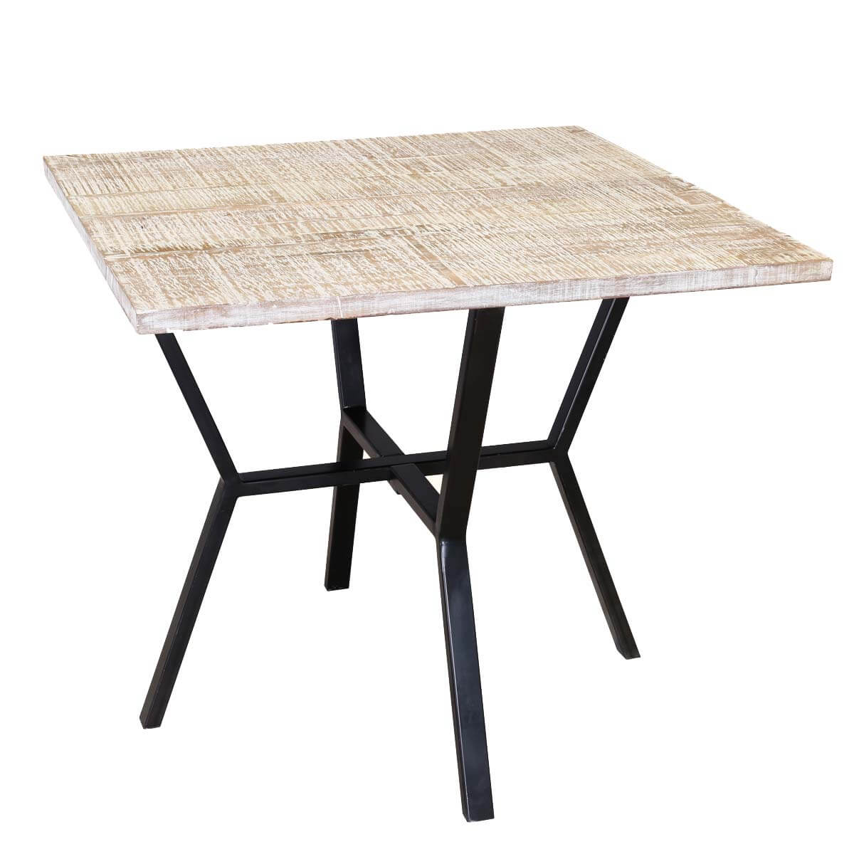 Dixon solid mango wood industrialized accent four seater for Mango wood dining table