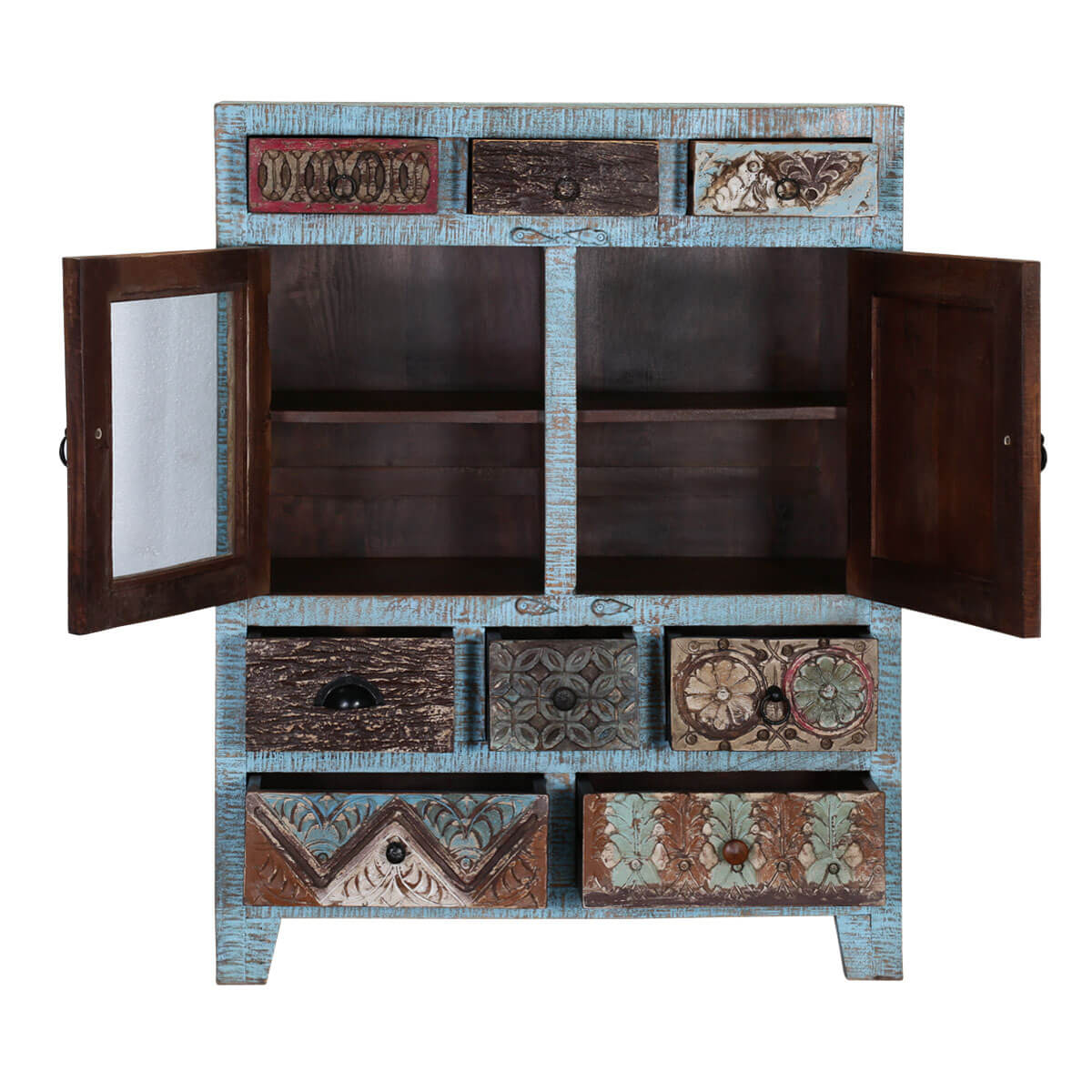 Turquoise trail 2 door 8 drawer blue dining storage cabinet for A p furniture trail