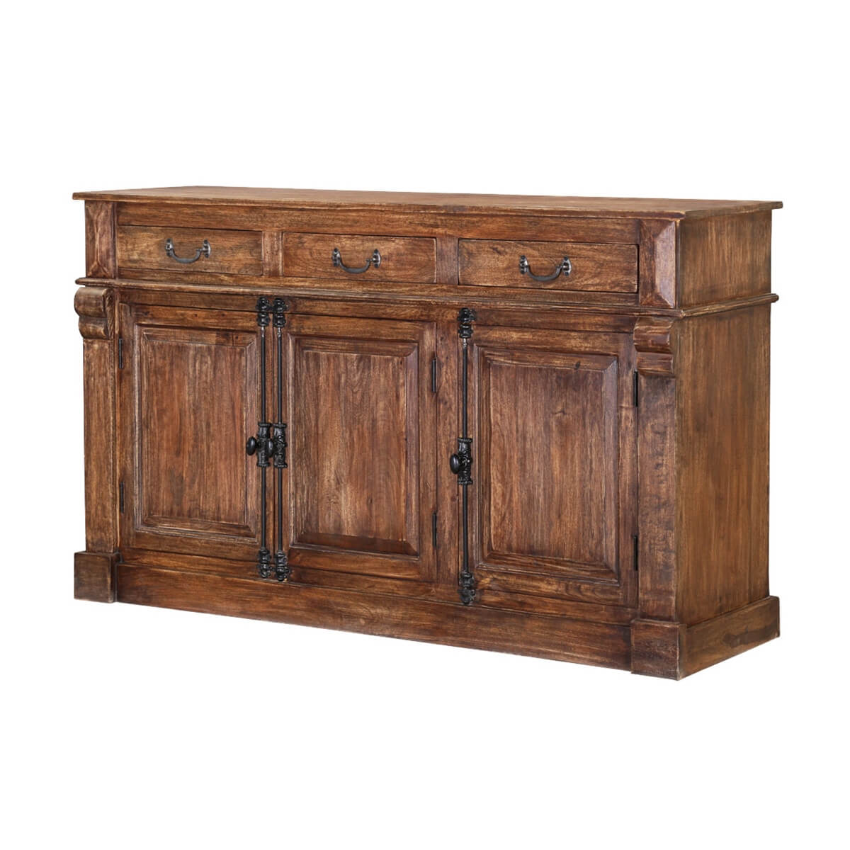 Ansonia rustic solid wood drawer sideboard cabinet