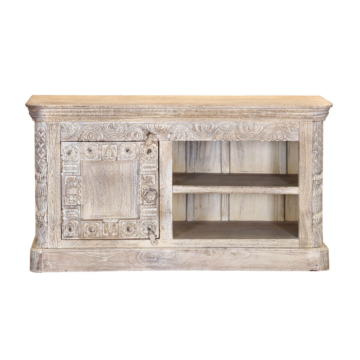 Rehoboth 47 Hand Carved Reclaimed 2 Shelf Rustic Media