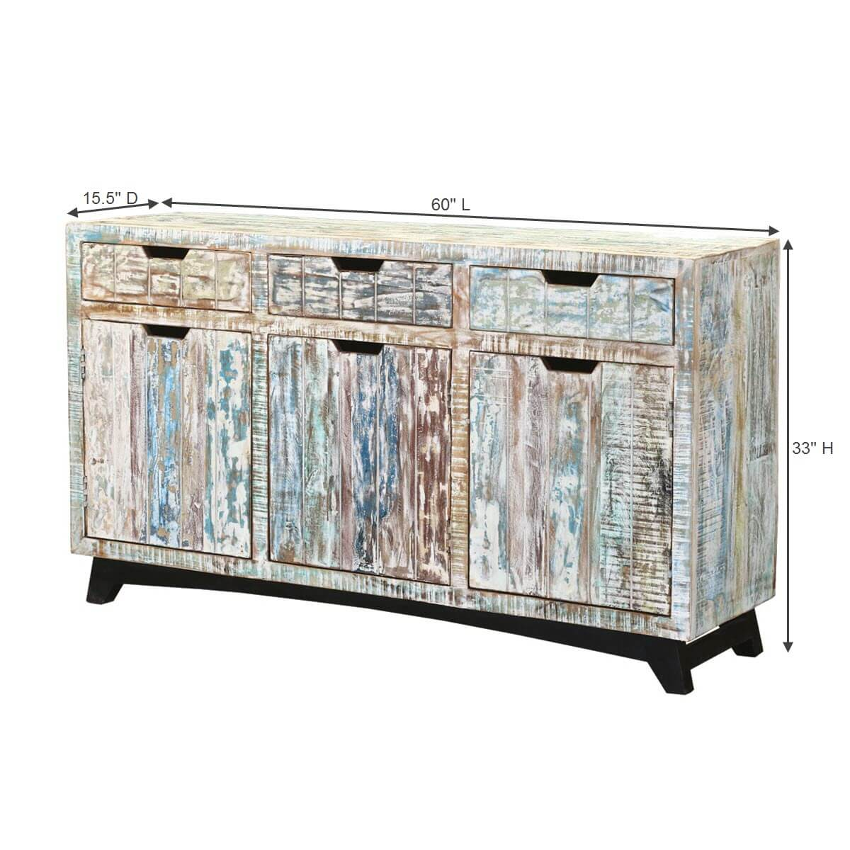 tucson handcrafted reclaimed wood 3 drawer sideboard cabinet