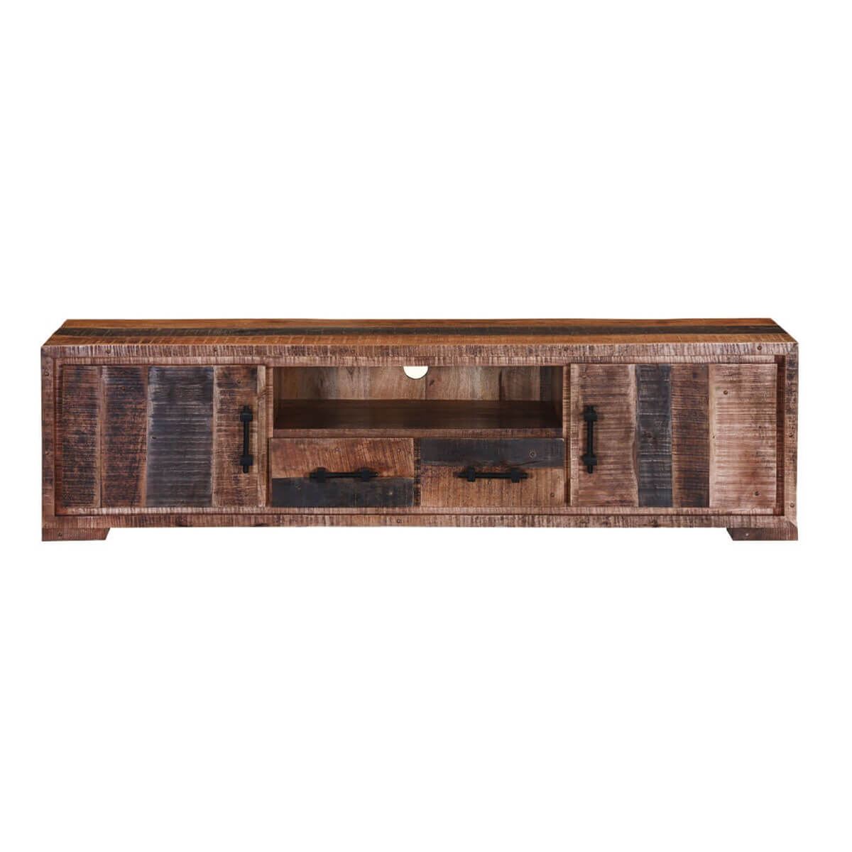 Boulder Two Drawer Rustic Solid Wood Tv Media Console
