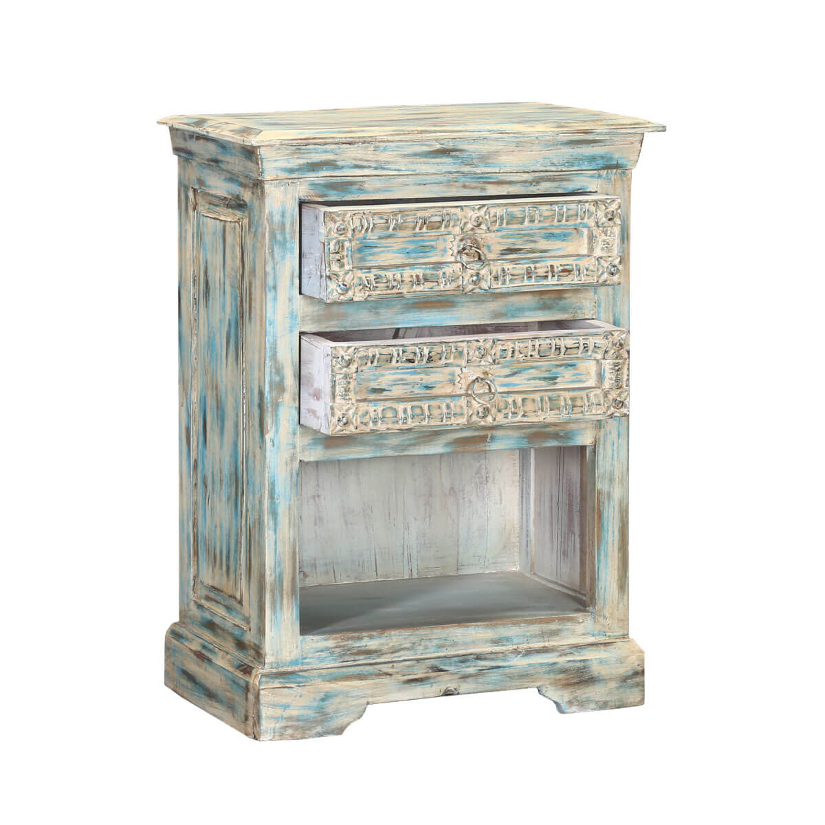 Waterfall blue reclaimed wood hand carved nightstand end table for Waterfall design nightstand