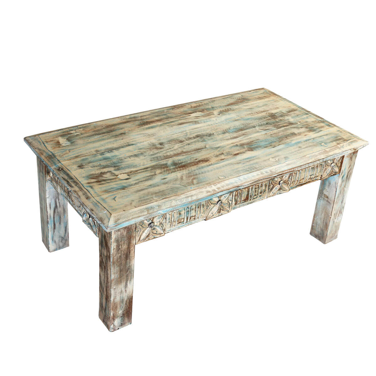Winter white reclaimed wood hand carved coffee table