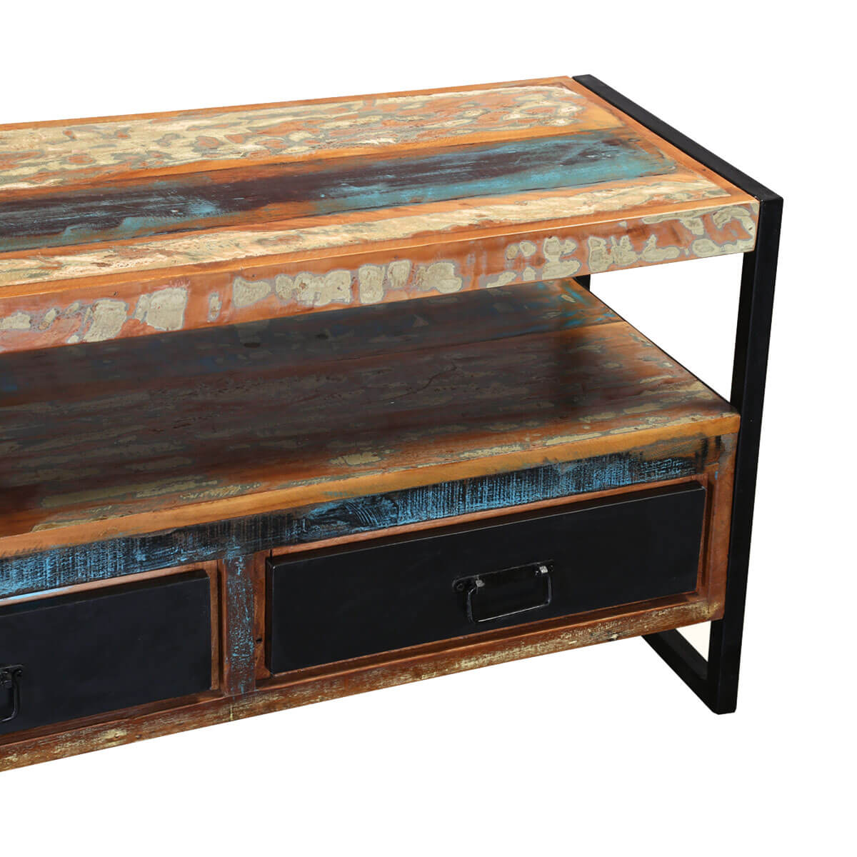 Industrial Rustic Reclaimed Wood Iron Media Console Tv Stand