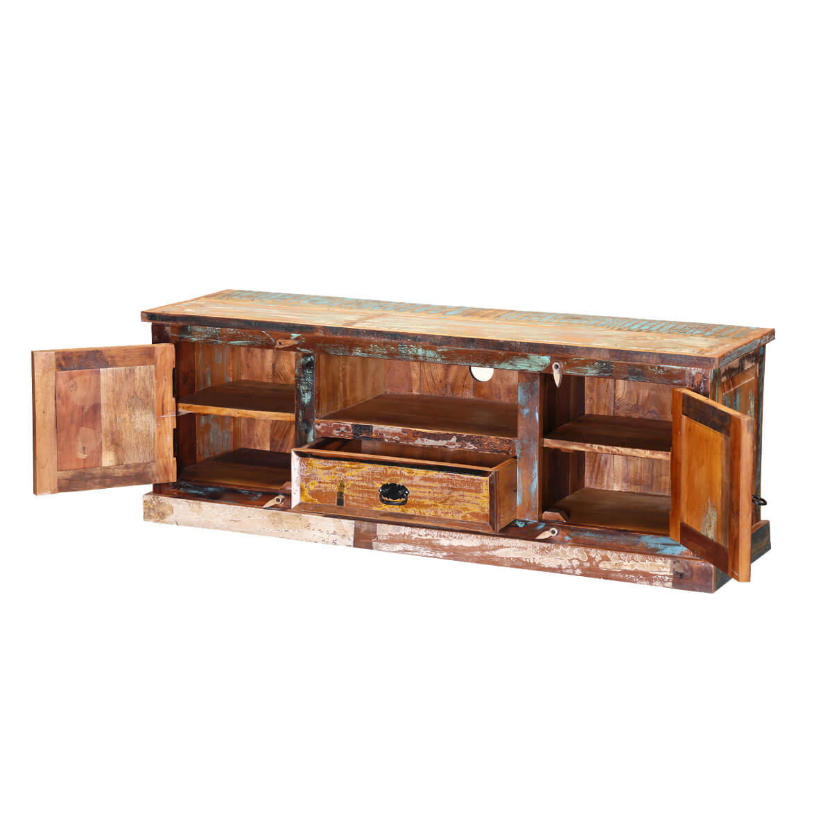 Rustic pioneer reclaimed wood tv console entertainment cabinet