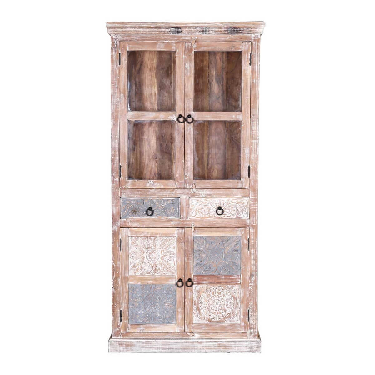 Winter Farmhouse Reclaimed Wood Glass Door Display Cabinet
