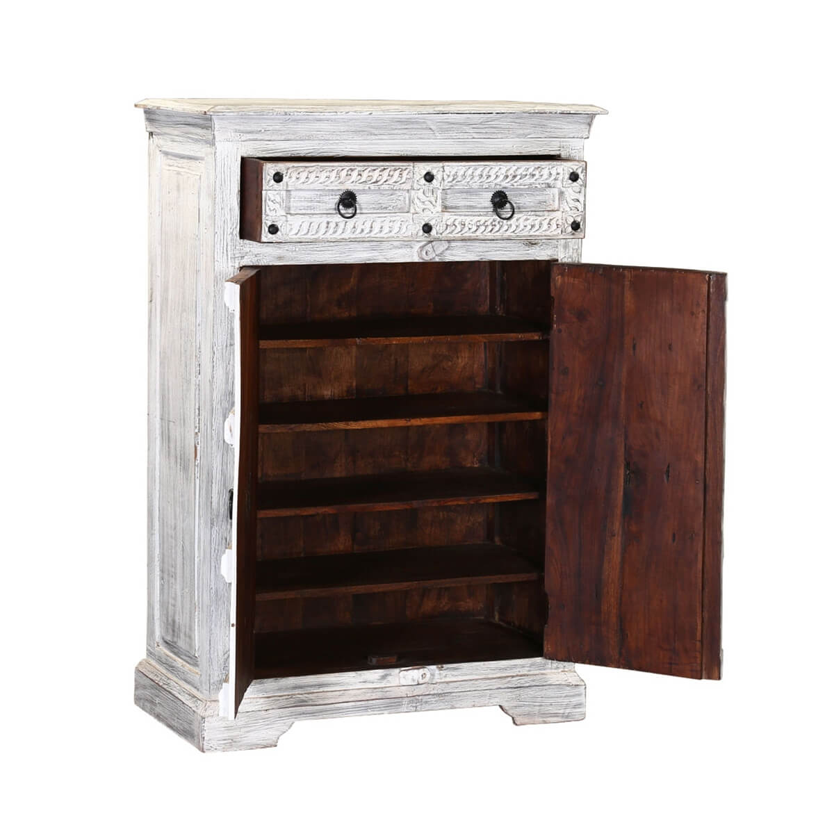 Hallowell Winter White Reclaimed Wood Rustic 2 Drawer