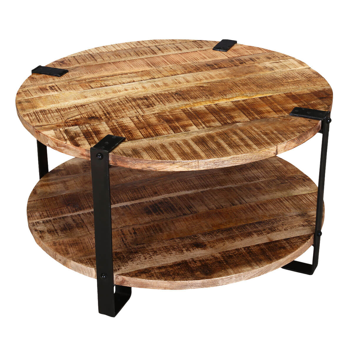 roxborough 35 rustic industrial round coffee table with saw marks. Black Bedroom Furniture Sets. Home Design Ideas