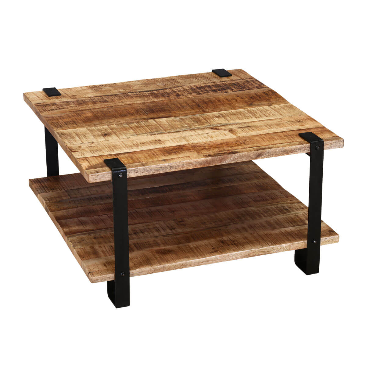 Roxborough Rustic Industrial Square Coffee Table With Saw