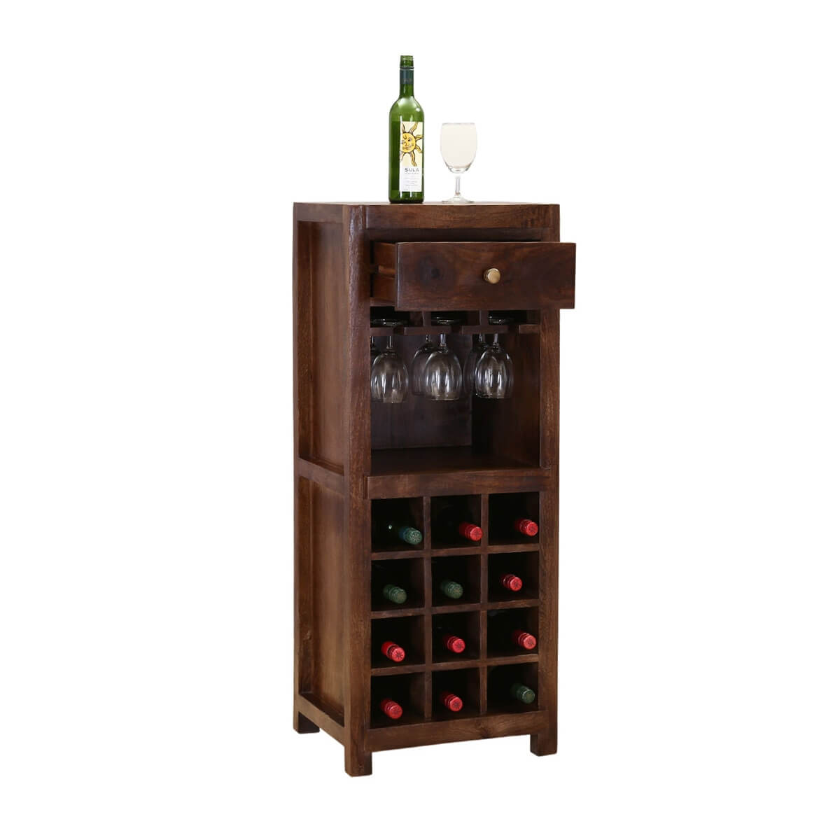 Wood Wine Bar ~ Alexandria rustic solid wood single drawer wine bar cabinet