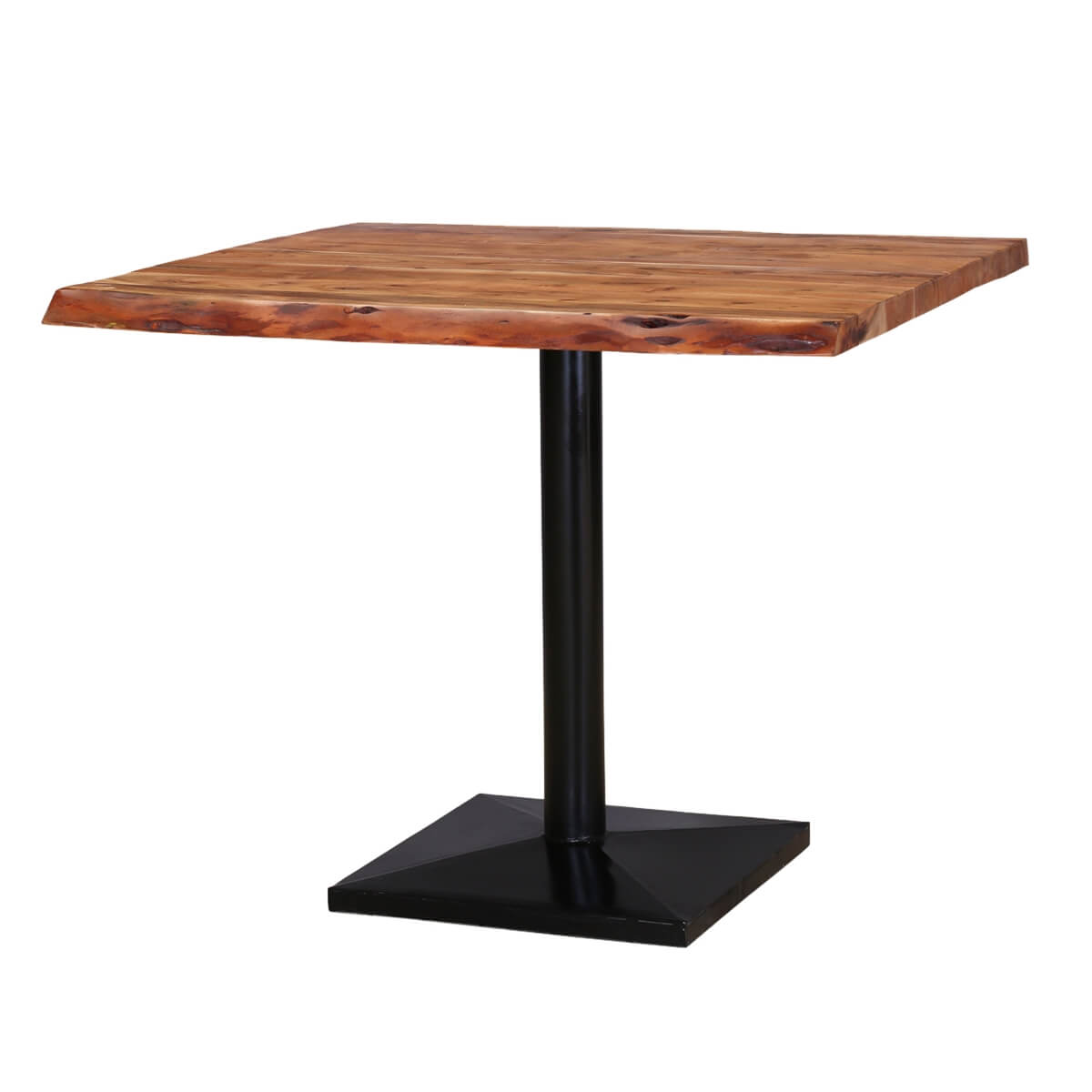 Roxborough 36 rustic industrial square top live edge for Square industrial dining table