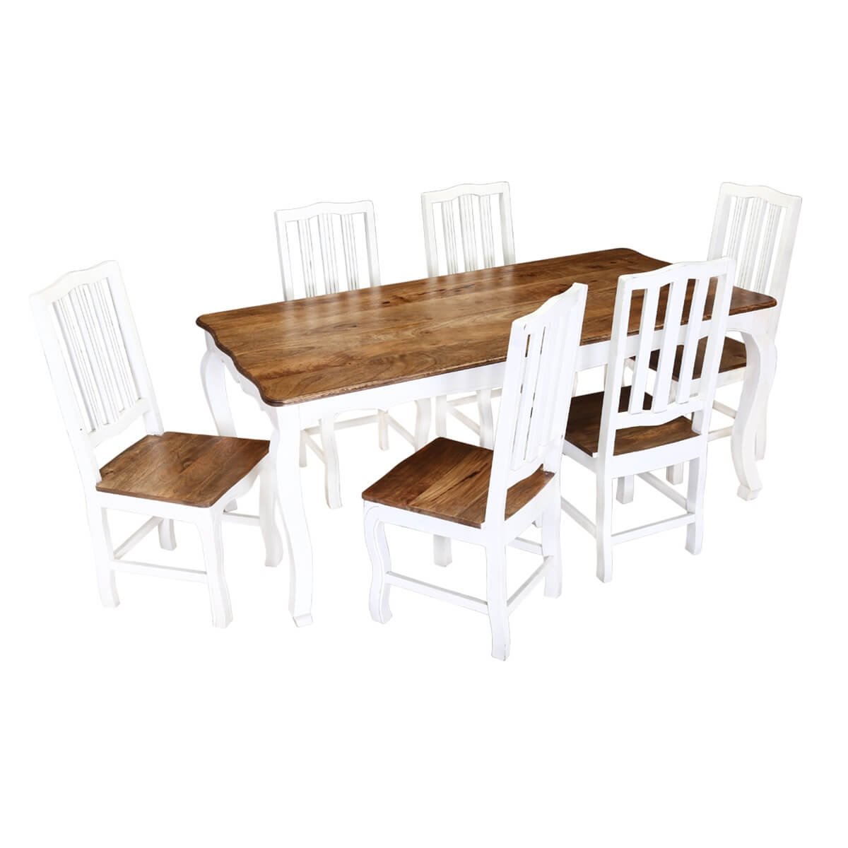 Rehoboth white and natural wood cabriole dining table with - Natural wood dining chairs ...