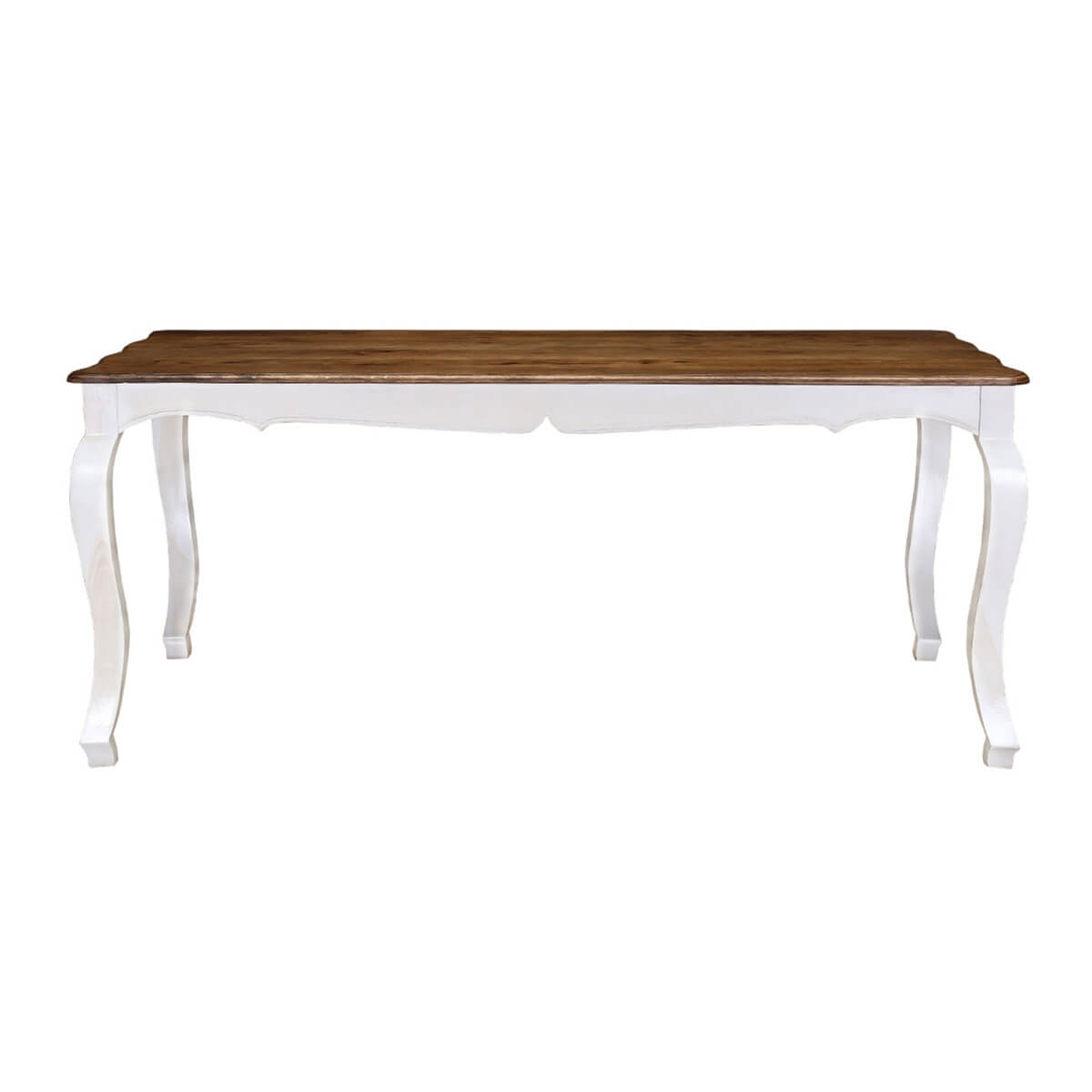 Rehoboth 72 White And Natural Wood Cabriole Leg 6 Seat Dining Table