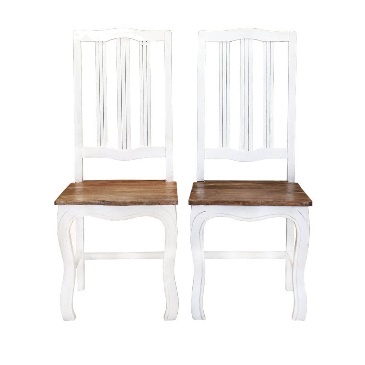 rehoboth white and natural wood cabriole dining chairs set of 2. Black Bedroom Furniture Sets. Home Design Ideas