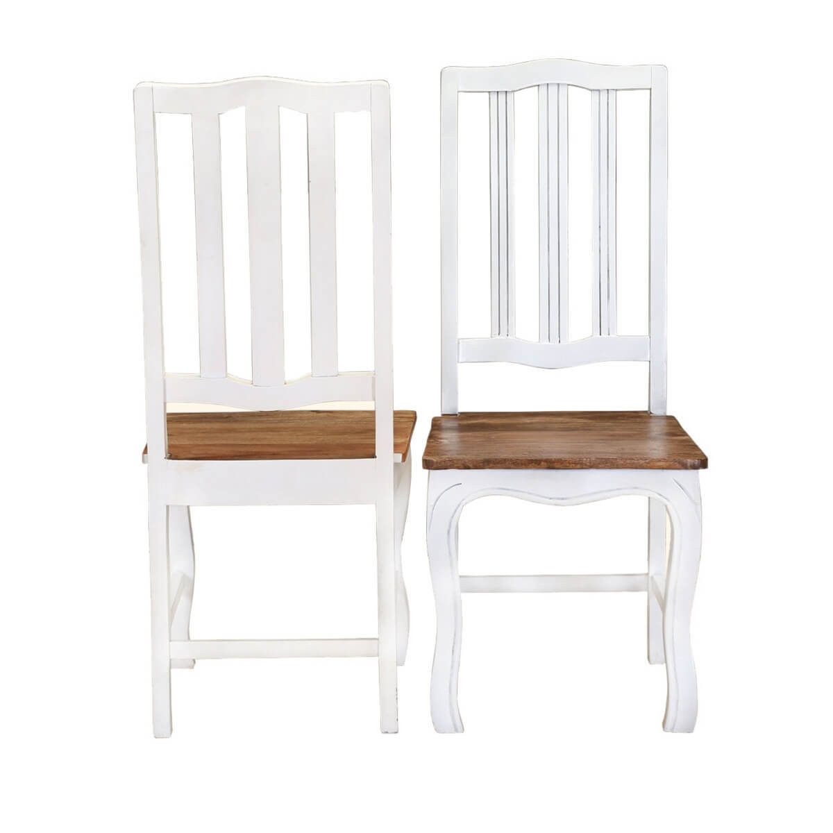 Rehoboth white and natural wood cabriole dining chairs - Natural wood dining chairs ...