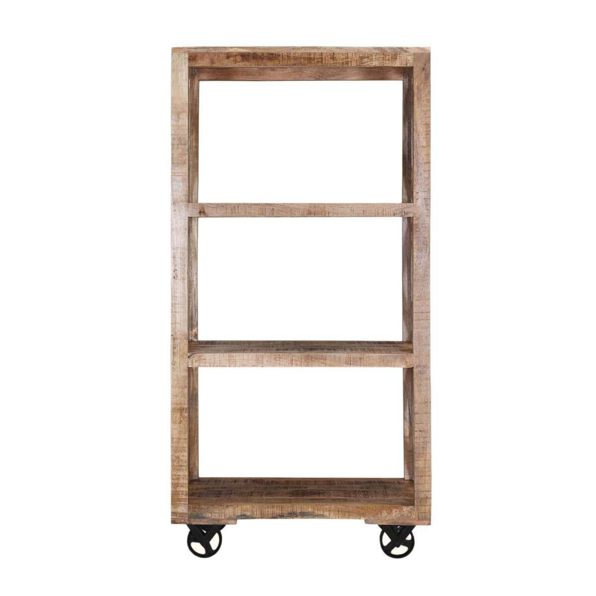 Astoria industrial handcrafted 3 tier solid wood open for Open concept bookcase