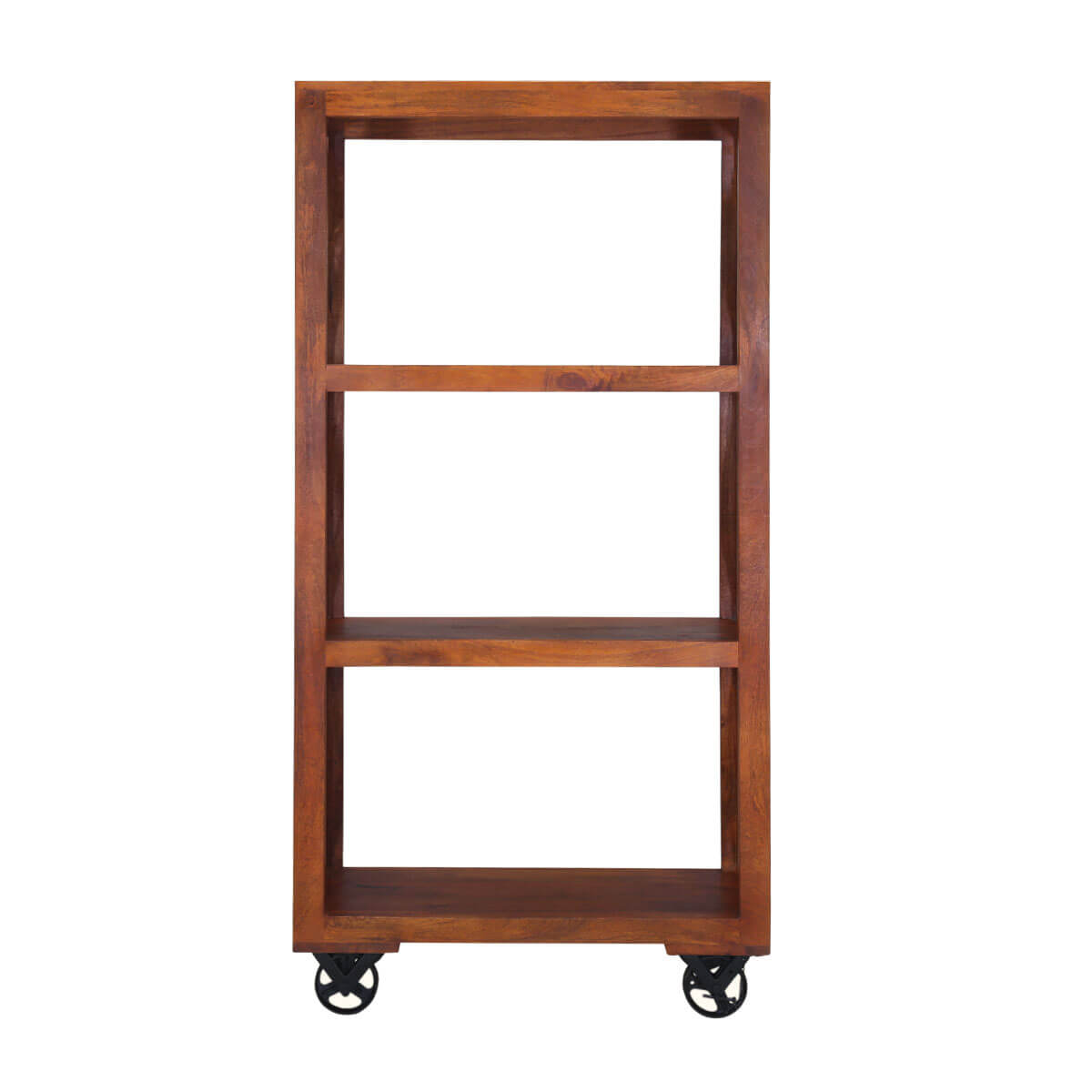 Modern Ranch Mango Wood 72 Industrial Open Back Bookcase Rack