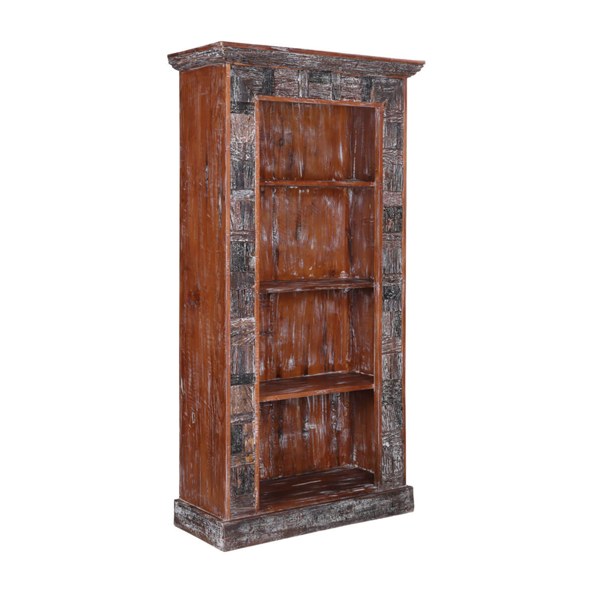Boone Hand-Carved Reclaimed Wood 3-Shelf Rustic Bookcase
