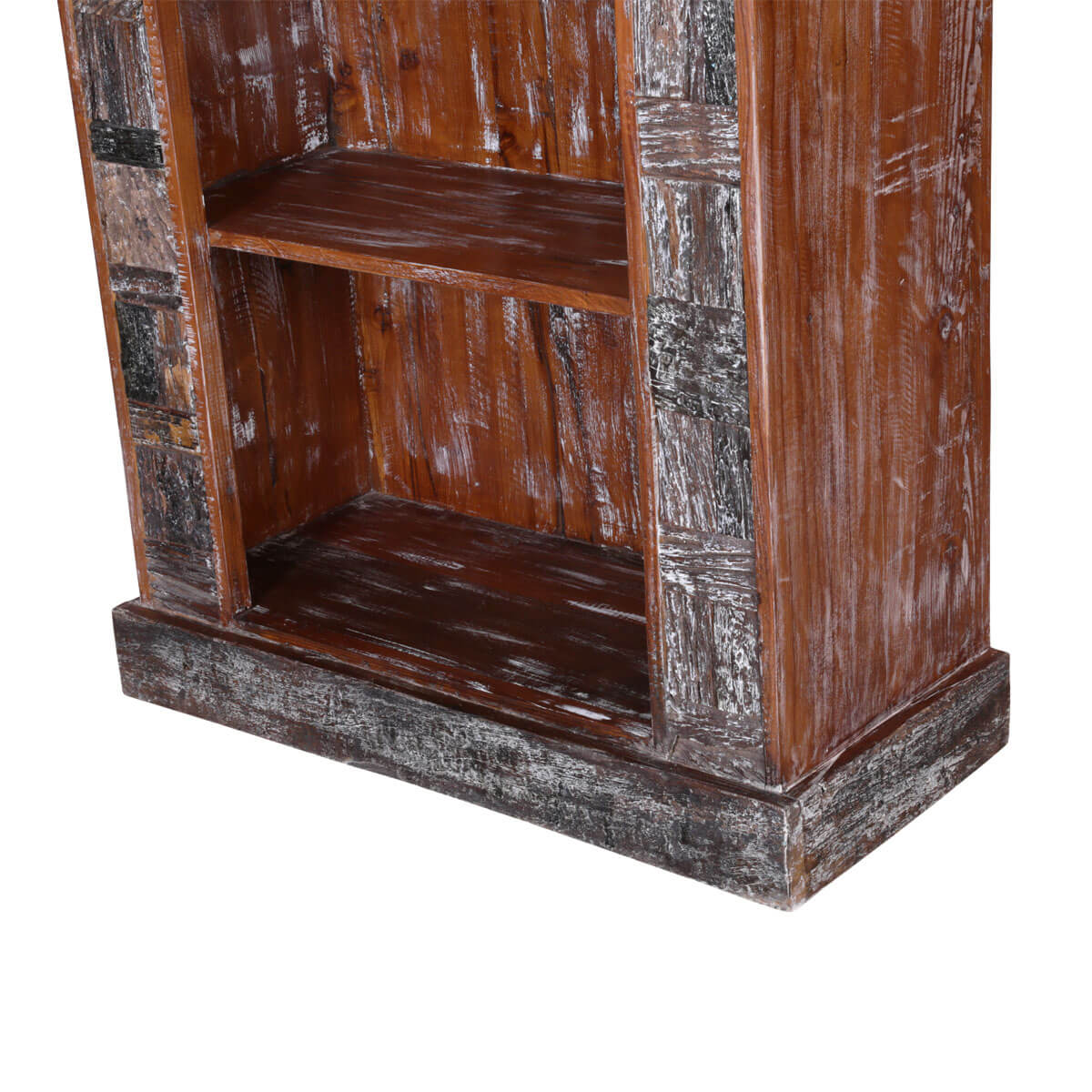 Hand Carved Bookshelf ~ Boone hand carved reclaimed wood shelf rustic bookcase