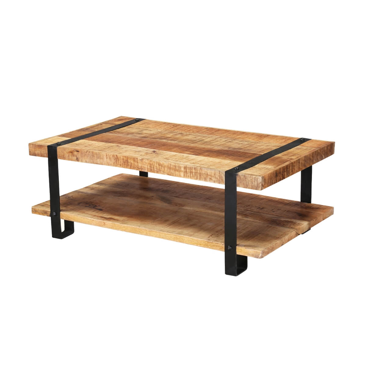 Industrial 43 mango wood 2 tier rustic coffee table for Coffee tables industrial