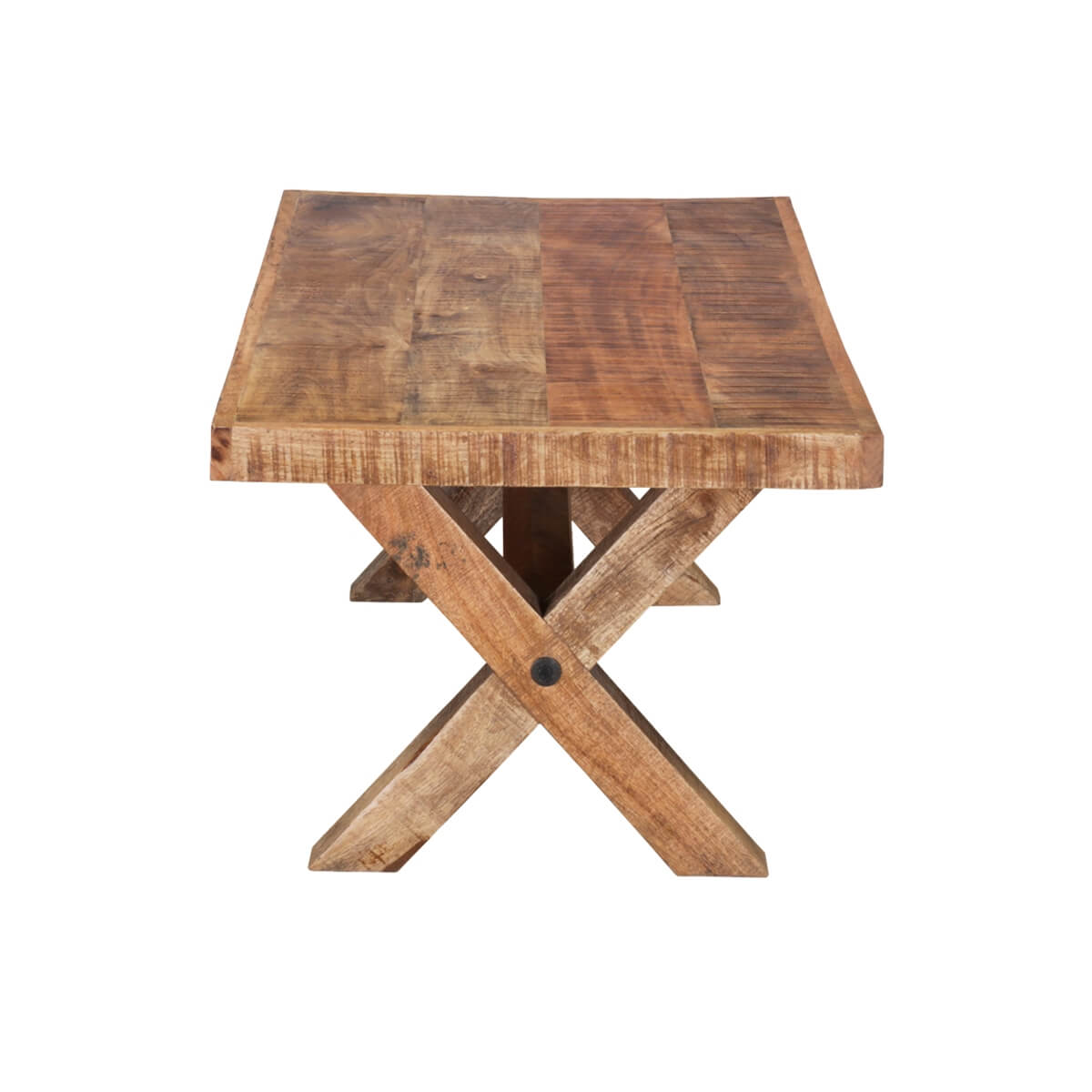 picnic style 47 mango wood rustic coffee table. Black Bedroom Furniture Sets. Home Design Ideas