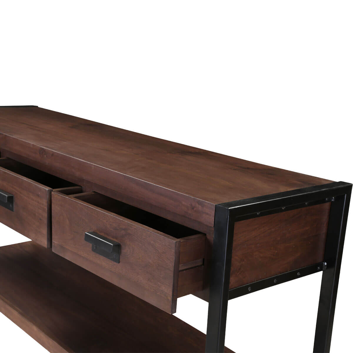 Modern Pioneer Mango Wood Industrial Hall Console Table W