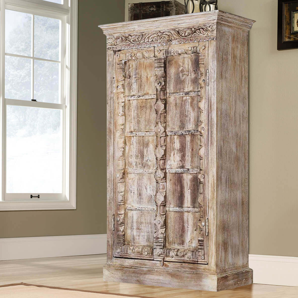 antique white rustic reclaimed wood double door armoire. Black Bedroom Furniture Sets. Home Design Ideas