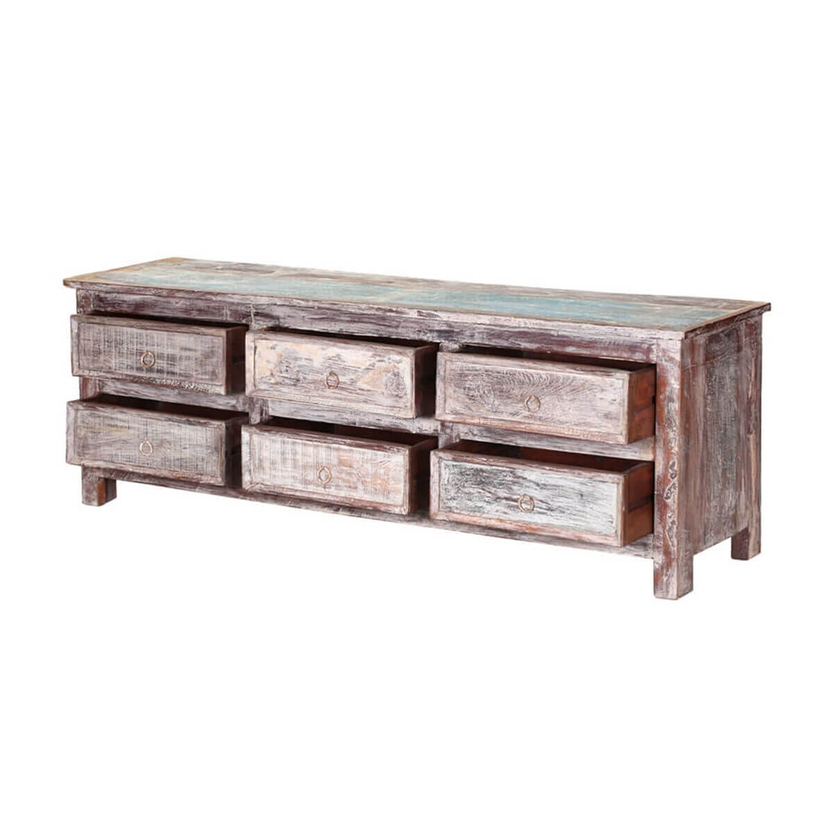 Tempe Handcrafted 6 Drawer Reclaimed Wood Tv Stand Media