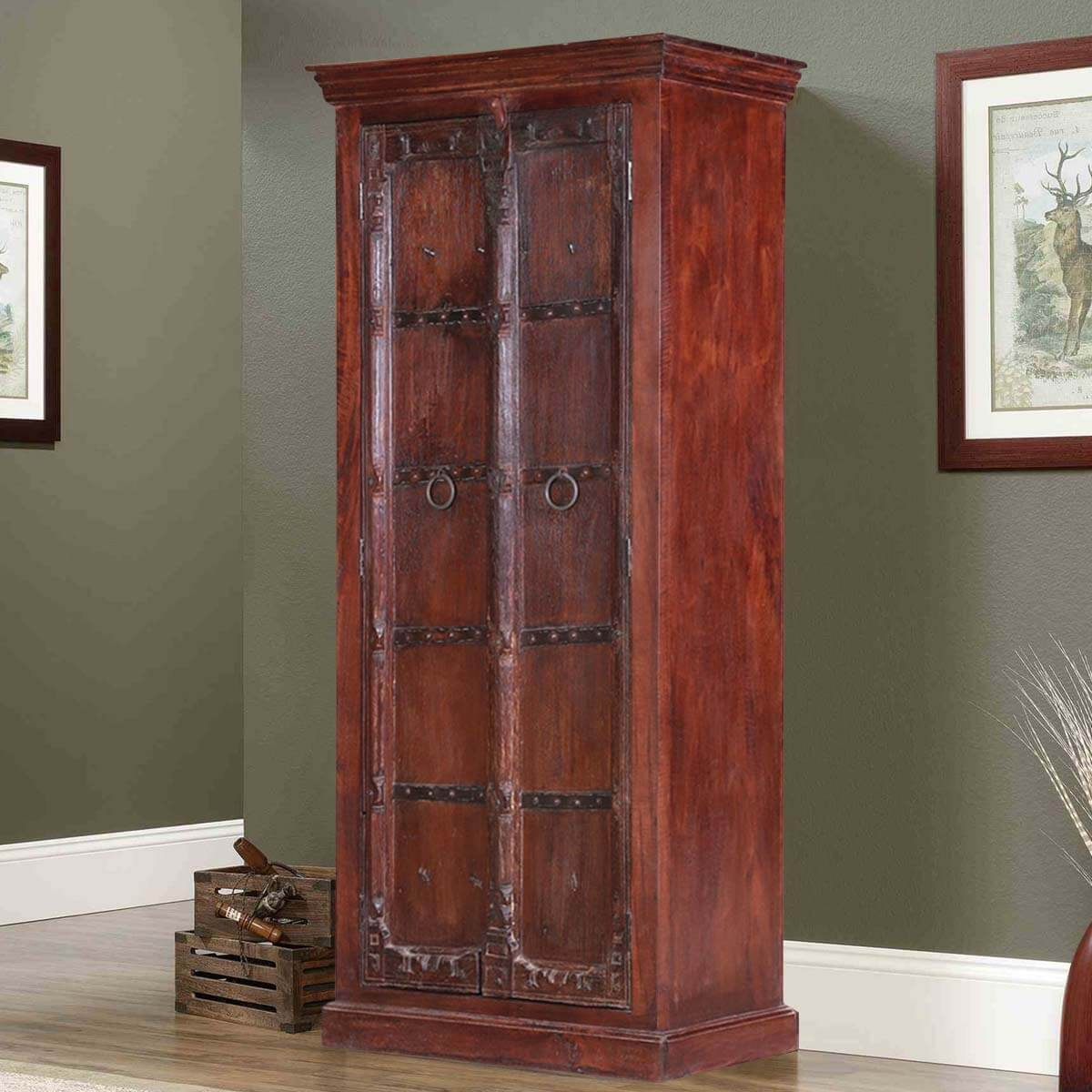 Erath Classic Handcrafted Reclaimed Wood Rustic Tall Armoire