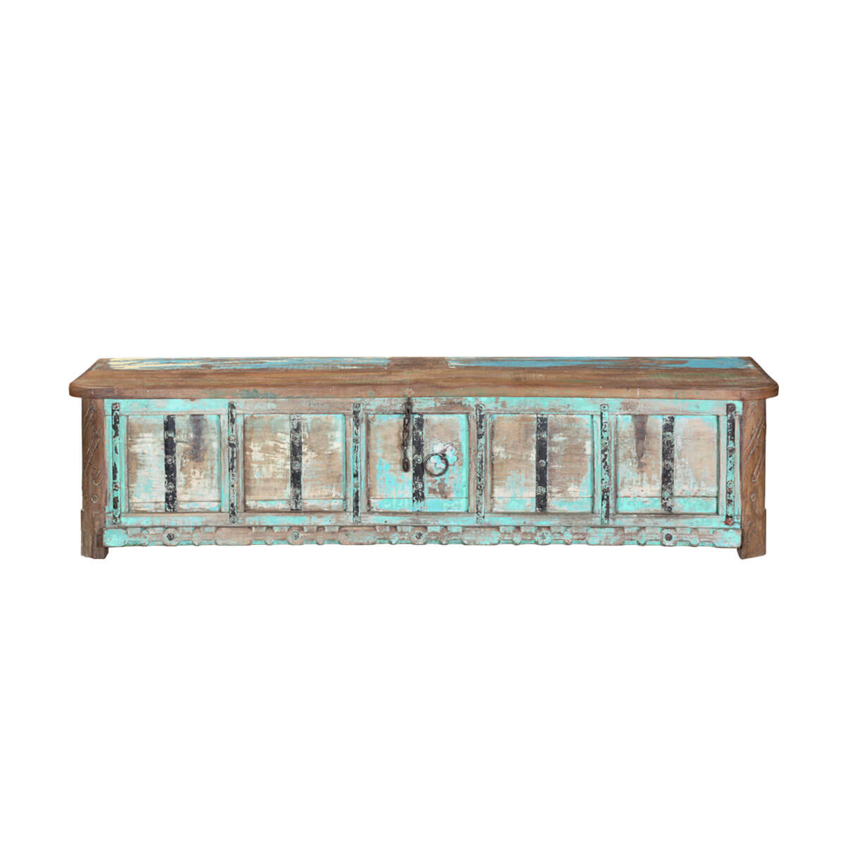 Rustic Turquoise Reclaimed Wood 72 Coffee Table Chest