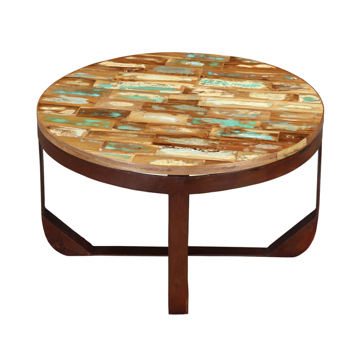 Industrial round handcrafted reclaimed wood rustic coffee for Large round rustic coffee table