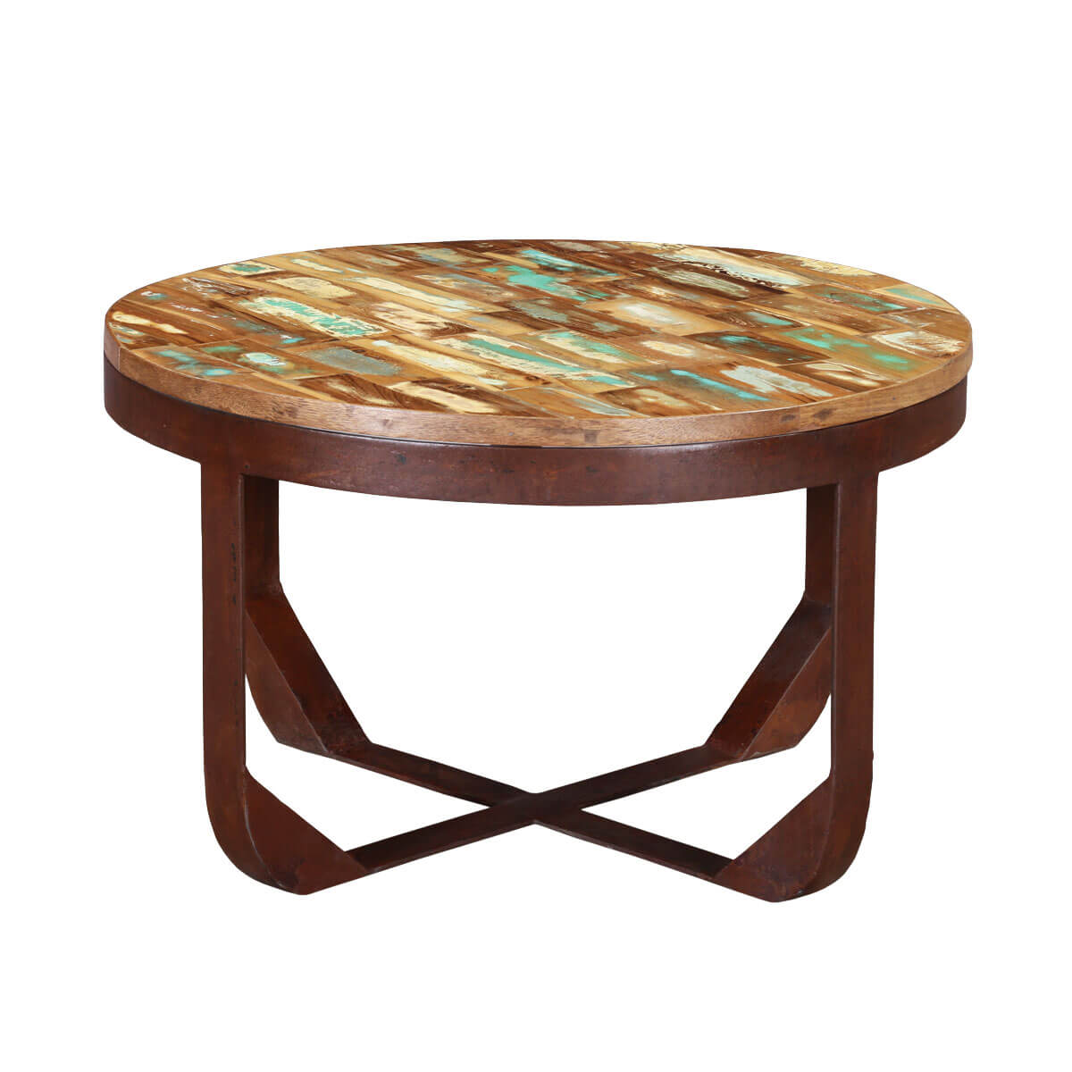 reclaimed wood industrial round coffee table. Black Bedroom Furniture Sets. Home Design Ideas